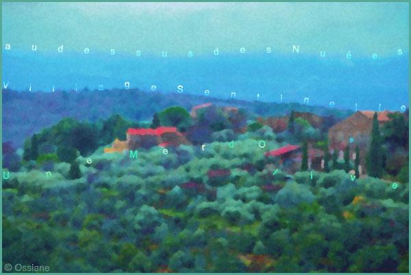 Au-dessus des nuées, village sentinelle, une mer d'olive
