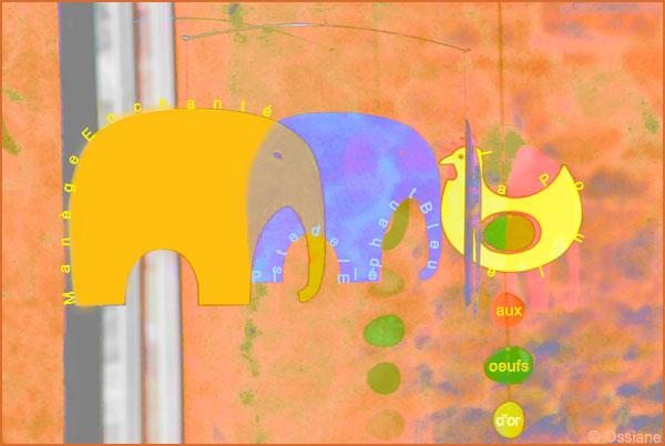Manège enchanté, piste de l'éléphant bleu, la poule aux oeufs d'or