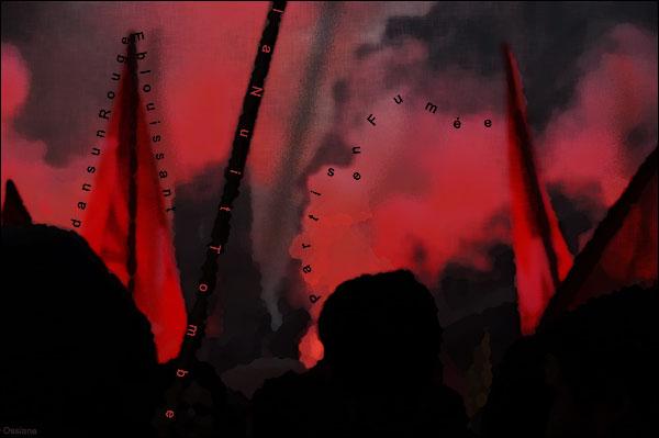 Partis en fumée dans un rouge éblouissant, la nuit tombe