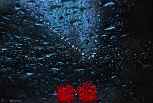 Deux phares dans la nuit, champ de l'imaginaire, la pluie complice