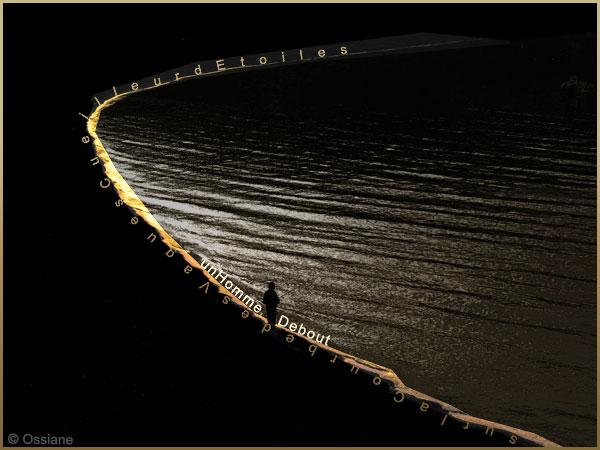 Un homme debout sur la courbe des vagues, cueilleur d'étoiles