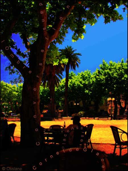 Place assise, conversation dans l'ombre, cornet de glace.