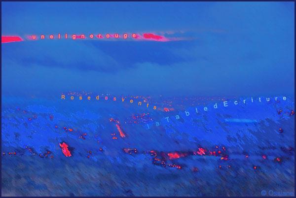 Une ligne rouge, la table d'écriture, rose des vents