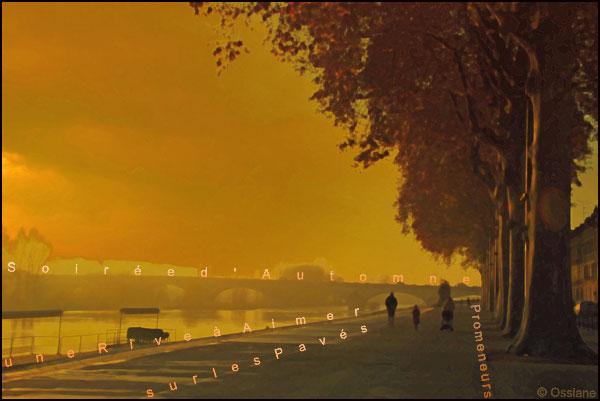 Soirée d'automne, promeneurs sur les pavés, une rive à aimer
