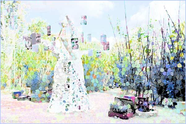 Bagages échoués, jardins des cinq continents, l'arbre à rêves